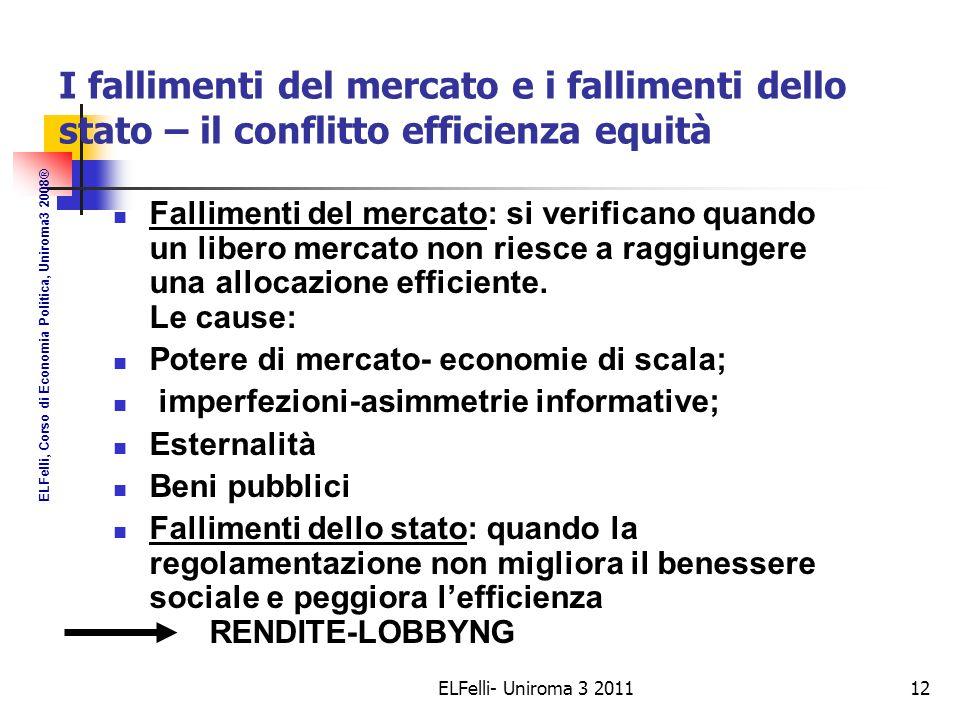 ELFelli- Uniroma 3 201112 I fallimenti del mercato e i fallimenti dello stato – il conflitto efficienza equità Fallimenti del mercato: si verificano quando un libero mercato non riesce a raggiungere una allocazione efficiente.