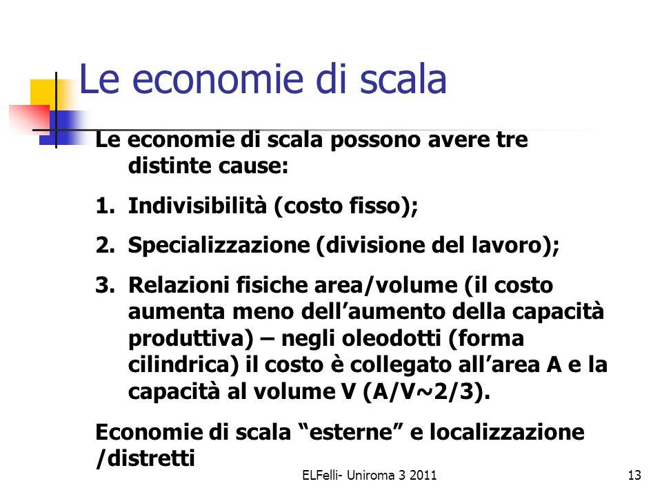 ELFelli- Uniroma 3 201113 Le economie di scala Le economie di scala possono avere tre distinte cause: 1.Indivisibilità (costo fisso); 2.Specializzazione (divisione del lavoro); 3.Relazioni fisiche area/volume (il costo aumenta meno dell'aumento della capacità produttiva) – negli oleodotti (forma cilindrica) il costo è collegato all'area A e la capacità al volume V (A/V~2/3).