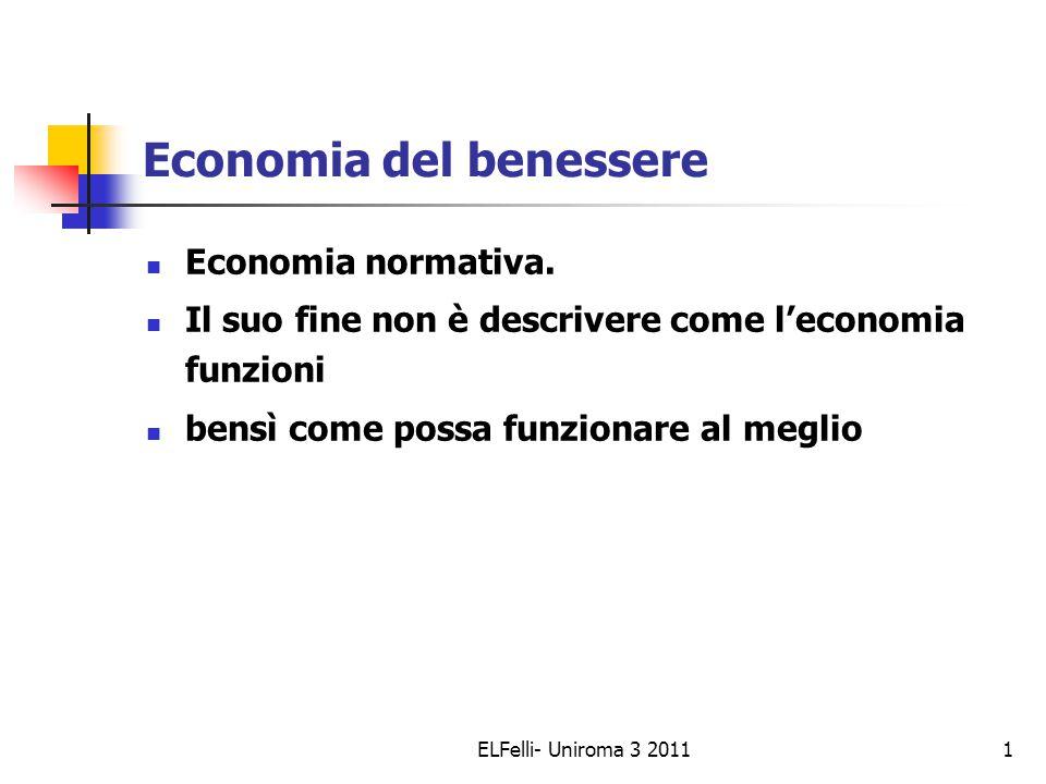 ELFelli- Uniroma 3 20111 Economia del benessere Economia normativa.