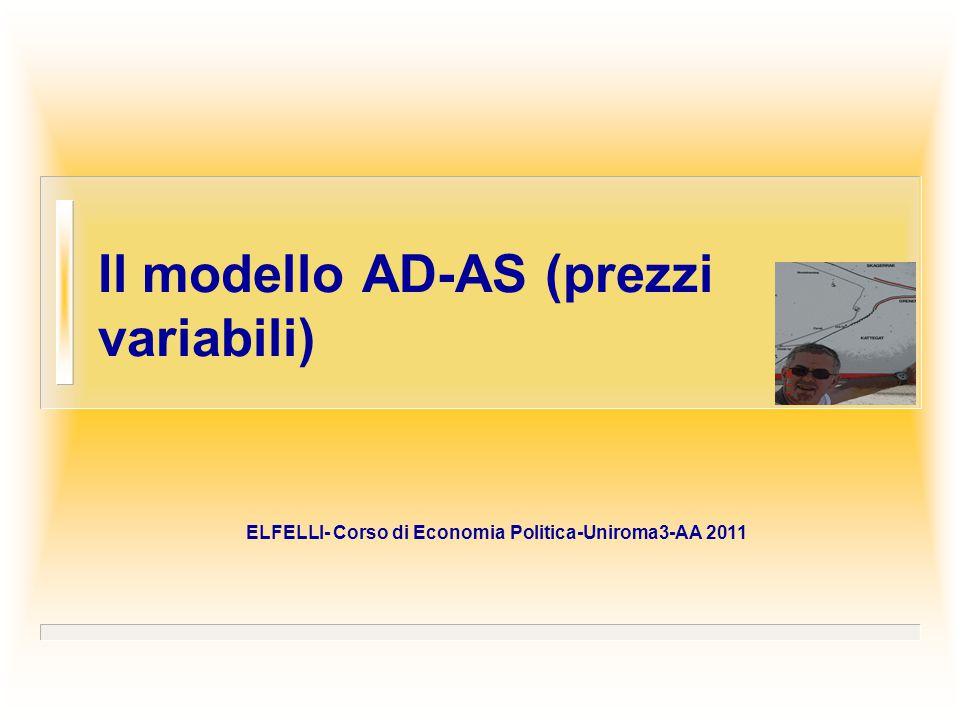 Il modello AD-AS (prezzi variabili) ELFELLI- Corso di Economia Politica-Uniroma3-AA 2011