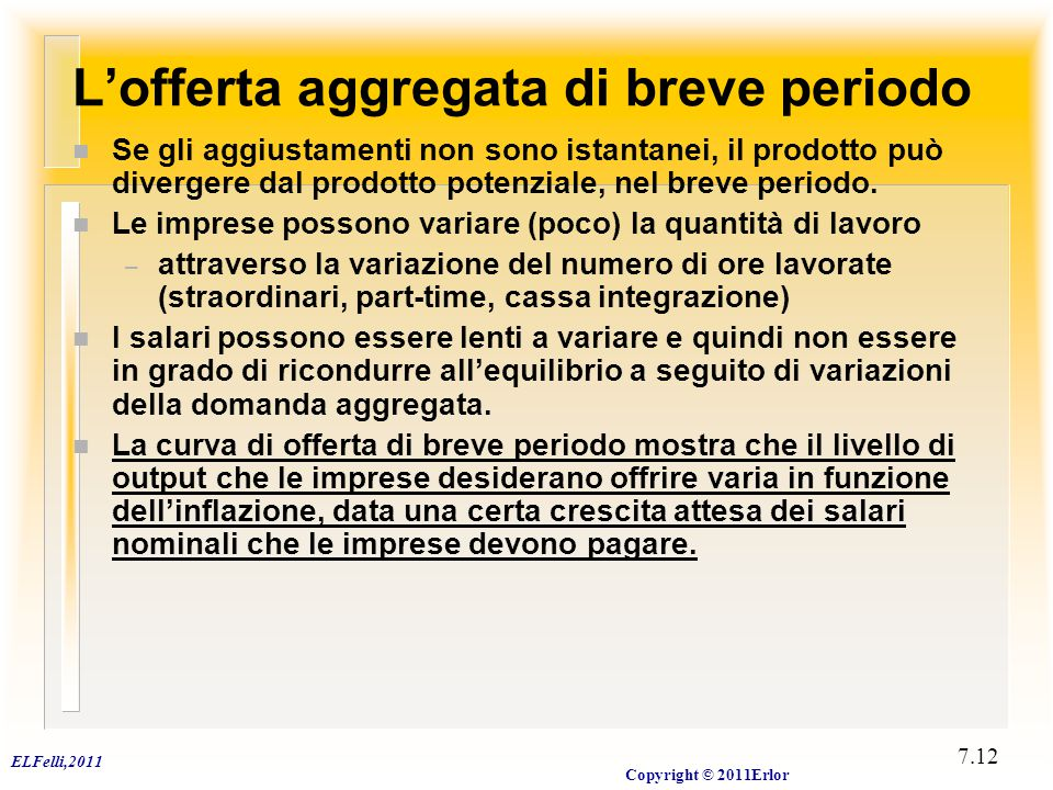 ELFelli,2011 Copyright © 2011Erlor 7.12 L'offerta aggregata di breve periodo n Se gli aggiustamenti non sono istantanei, il prodotto può divergere dal