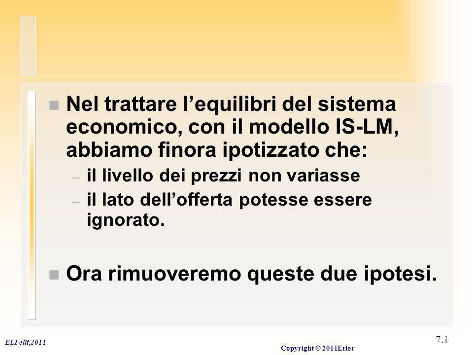ELFelli,2011 Copyright © 2011Erlor 7.2 livello dei prezzi, inflazione e domanda aggregata n Il modello CLASSICO analizza un sistema economico in cui salari e prezzi sono flessibili.