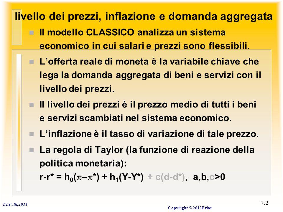 ELFelli,2011 Copyright © 2011Erlor 7.2 livello dei prezzi, inflazione e domanda aggregata n Il modello CLASSICO analizza un sistema economico in cui s