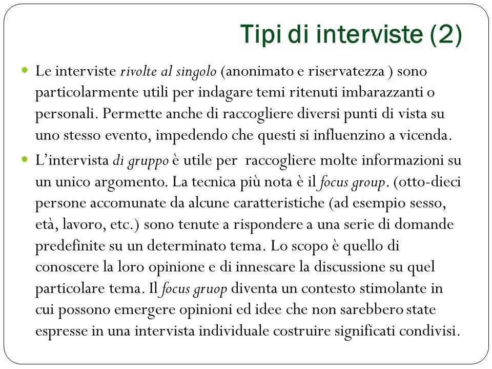Tipi di interviste (2) Le interviste rivolte al singolo (anonimato e riservatezza ) sono particolarmente utili per indagare temi ritenuti imbarazzanti