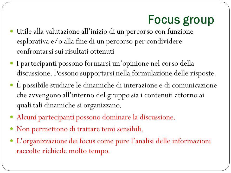 Focus group Utile alla valutazione all'inizio di un percorso con funzione esplorativa e/o alla fine di un percorso per condividere confrontarsi sui ri