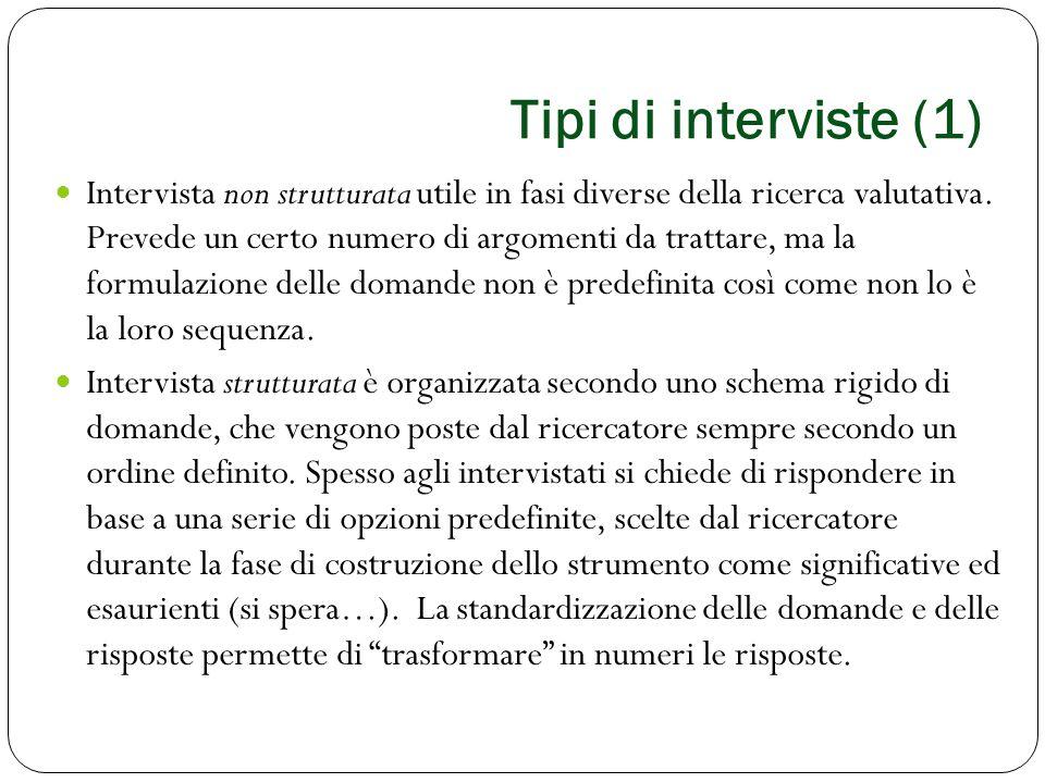Tipi di interviste (1) Intervista non strutturata utile in fasi diverse della ricerca valutativa. Prevede un certo numero di argomenti da trattare, ma