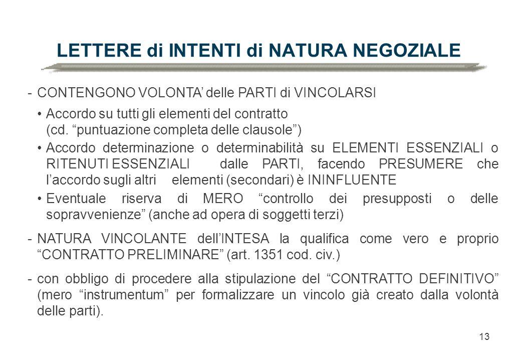 13 LETTERE di INTENTI di NATURA NEGOZIALE -CONTENGONO VOLONTA' delle PARTI di VINCOLARSI Accordo su tutti gli elementi del contratto (cd.
