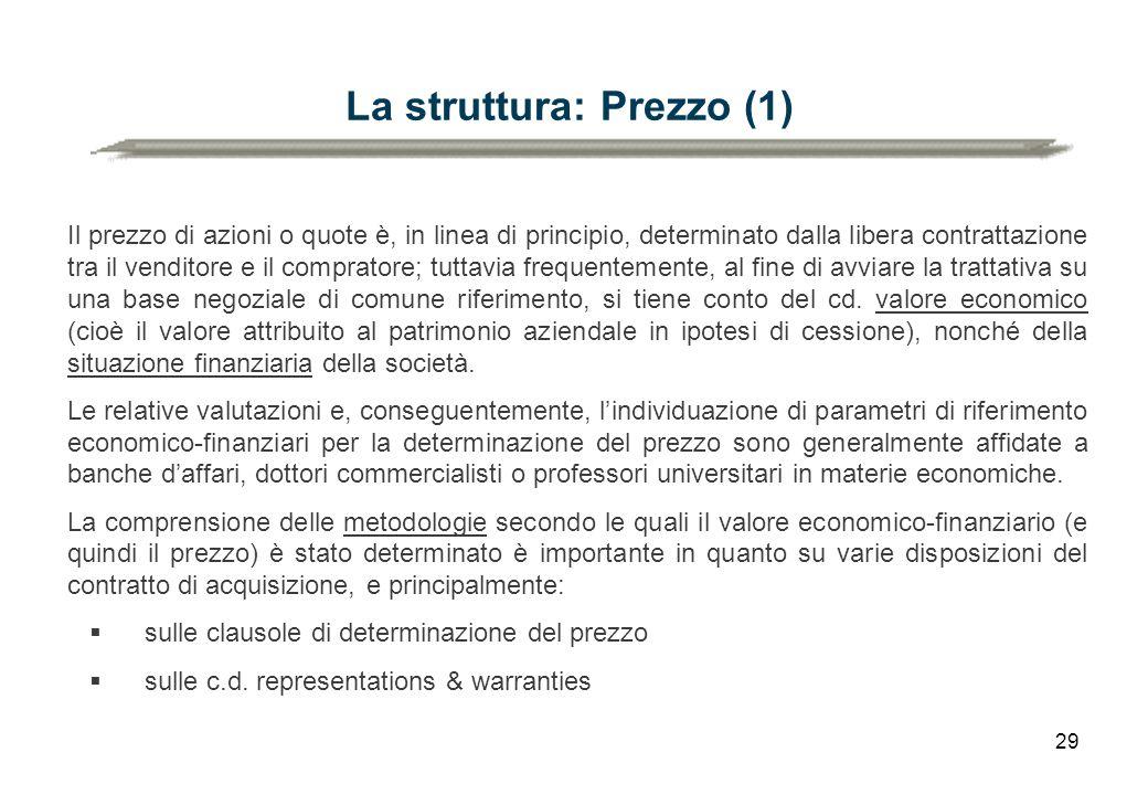 29 La struttura: Prezzo (1) Il prezzo di azioni o quote è, in linea di principio, determinato dalla libera contrattazione tra il venditore e il compra