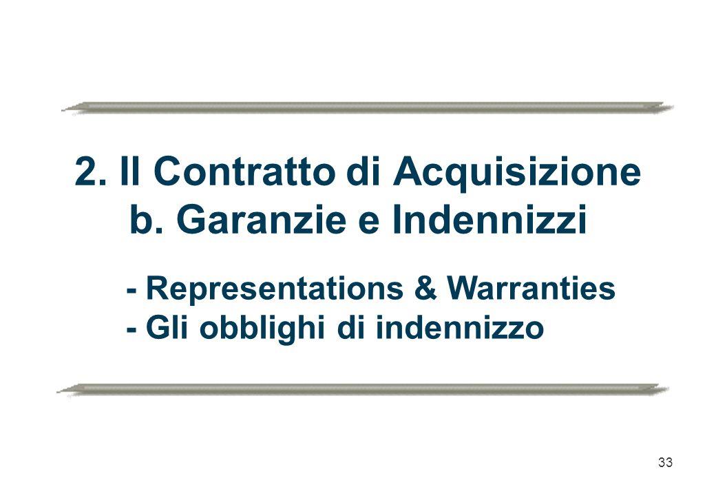 33 2. Il Contratto di Acquisizione b. Garanzie e Indennizzi - Representations & Warranties - Gli obblighi di indennizzo