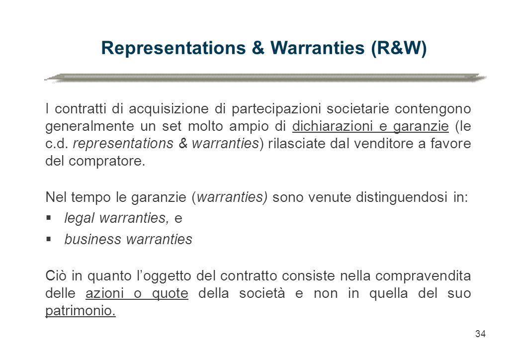 34 I contratti di acquisizione di partecipazioni societarie contengono generalmente un set molto ampio di dichiarazioni e garanzie (le c.d. representa