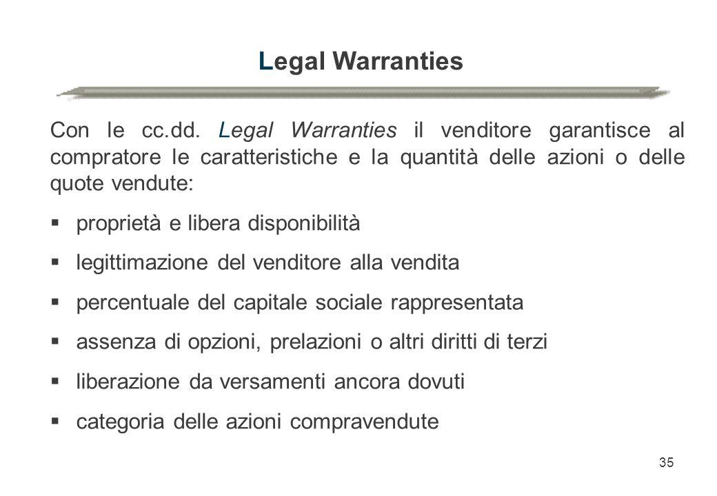 35 Legal Warranties Con le cc.dd. Legal Warranties il venditore garantisce al compratore le caratteristiche e la quantità delle azioni o delle quote v