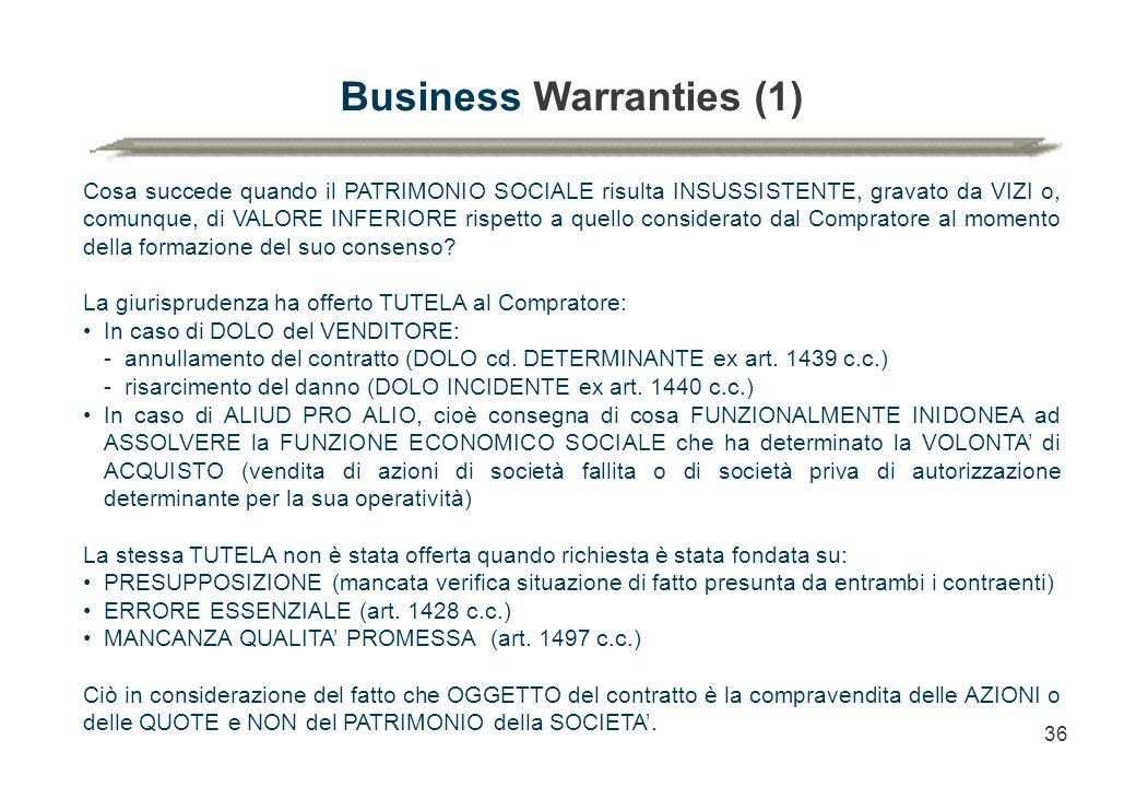 36 Business Warranties (1) Cosa succede quando il PATRIMONIO SOCIALE risulta INSUSSISTENTE, gravato da VIZI o, comunque, di VALORE INFERIORE rispetto a quello considerato dal Compratore al momento della formazione del suo consenso.