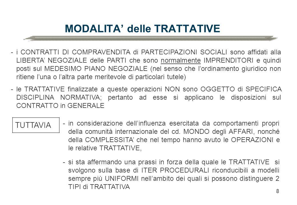 8 MODALITA' delle TRATTATIVE -i CONTRATTI DI COMPRAVENDITA di PARTECIPAZIONI SOCIALI sono affidati alla LIBERTA' NEGOZIALE delle PARTI che sono normalmente IMPRENDITORI e quindi posti sul MEDESIMO PIANO NEGOZIALE (nel senso che l'ordinamento giuridico non ritiene l'una o l'altra parte meritevole di particolari tutele) -le TRATTATIVE finalizzate a queste operazioni NON sono OGGETTO di SPECIFICA DISCIPLINA NORMATIVA; pertanto ad esse si applicano le disposizioni sul CONTRATTO in GENERALE TUTTAVIA -si sta affermando una prassi in forza della quale le TRATTATIVE si svolgono sulla base di ITER PROCEDURALI riconducibili a modelli sempre più UNIFORMI nell'ambito dei quali si possono distinguere 2 TIPI di TRATTATIVA -in considerazione dell'influenza esercitata da comportamenti propri della comunità internazionale del cd.