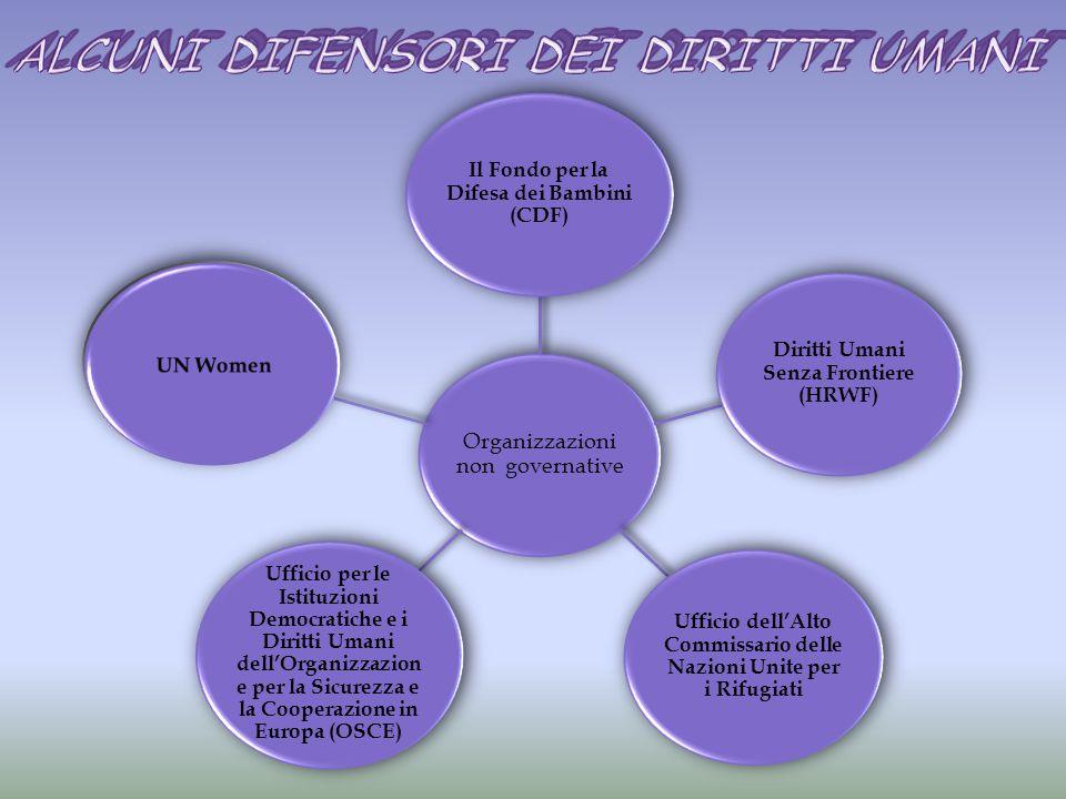Organizzazioni non governative Il Fondo per la Difesa dei Bambini (CDF) Diritti Umani Senza Frontiere (HRWF) Ufficio dell'Alto Commissario delle Nazioni Unite per i Rifugiati Ufficio per le Istituzioni Democratiche e i Diritti Umani dell'Organizzazion e per la Sicurezza e la Cooperazione in Europa (OSCE)