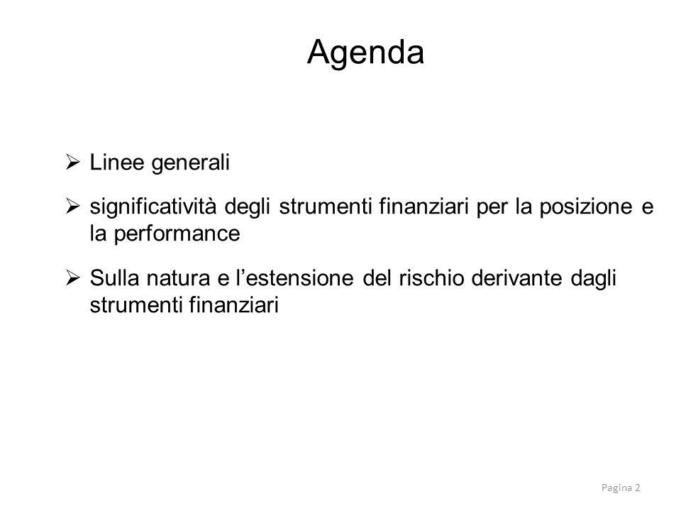  Linee generali  significatività degli strumenti finanziari per la posizione e la performance  Sulla natura e l'estensione del rischio derivante da