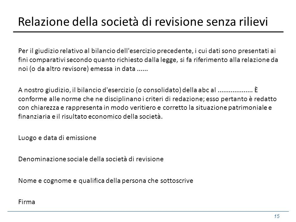 Relazione della società di revisione senza rilievi Per il giudizio relativo al bilancio dell'esercizio precedente, i cui dati sono presentati ai fini