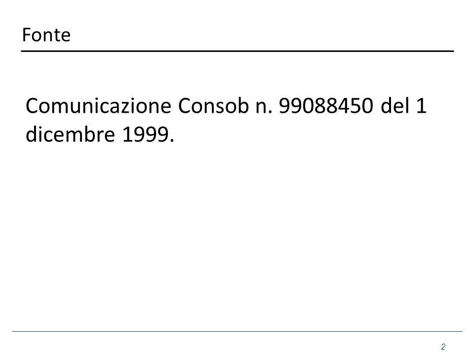 Fonte Comunicazione Consob n. 99088450 del 1 dicembre 1999. 2