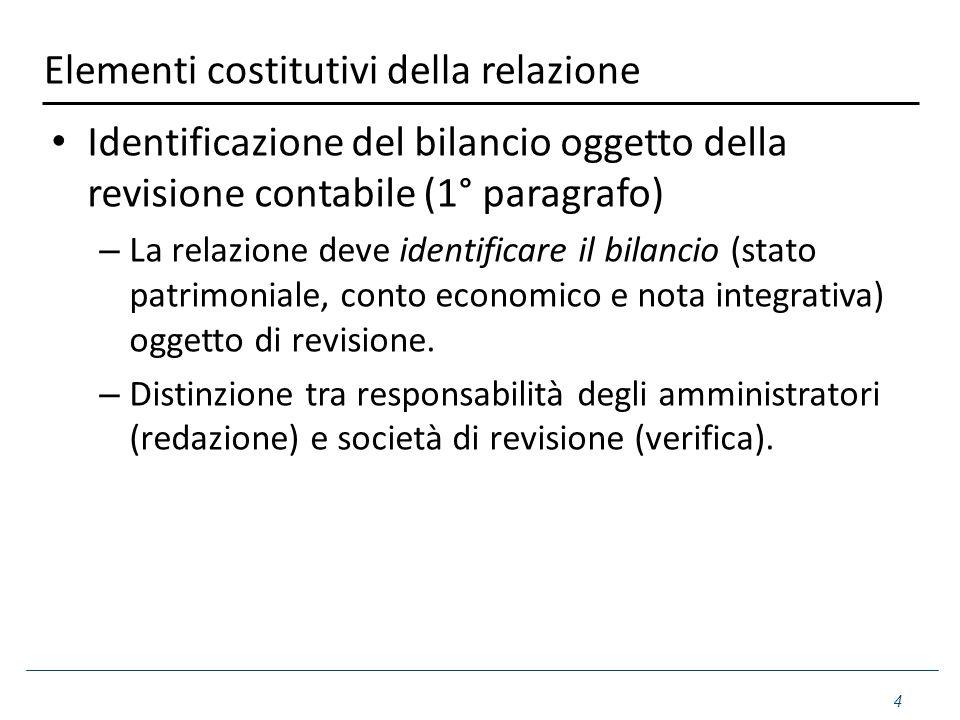 Elementi costitutivi della relazione Identificazione del bilancio oggetto della revisione contabile (1° paragrafo) – La relazione deve identificare il
