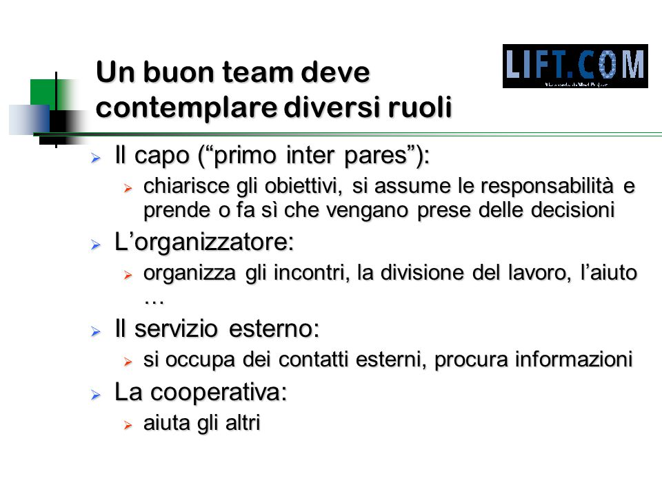 """Un buon team deve contemplare diversi ruoli  Il capo (""""primo inter pares""""):  chiarisce gli obiettivi, si assume le responsabilità e prende o fa sì c"""