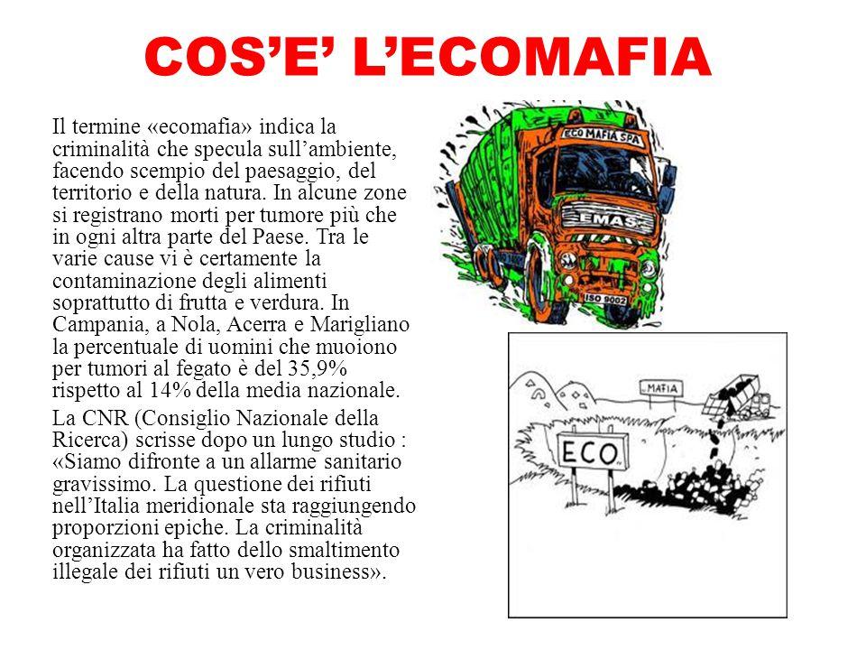 COS'E' L'ECOMAFIA Il termine «ecomafia» indica la criminalità che specula sull'ambiente, facendo scempio del paesaggio, del territorio e della natura.