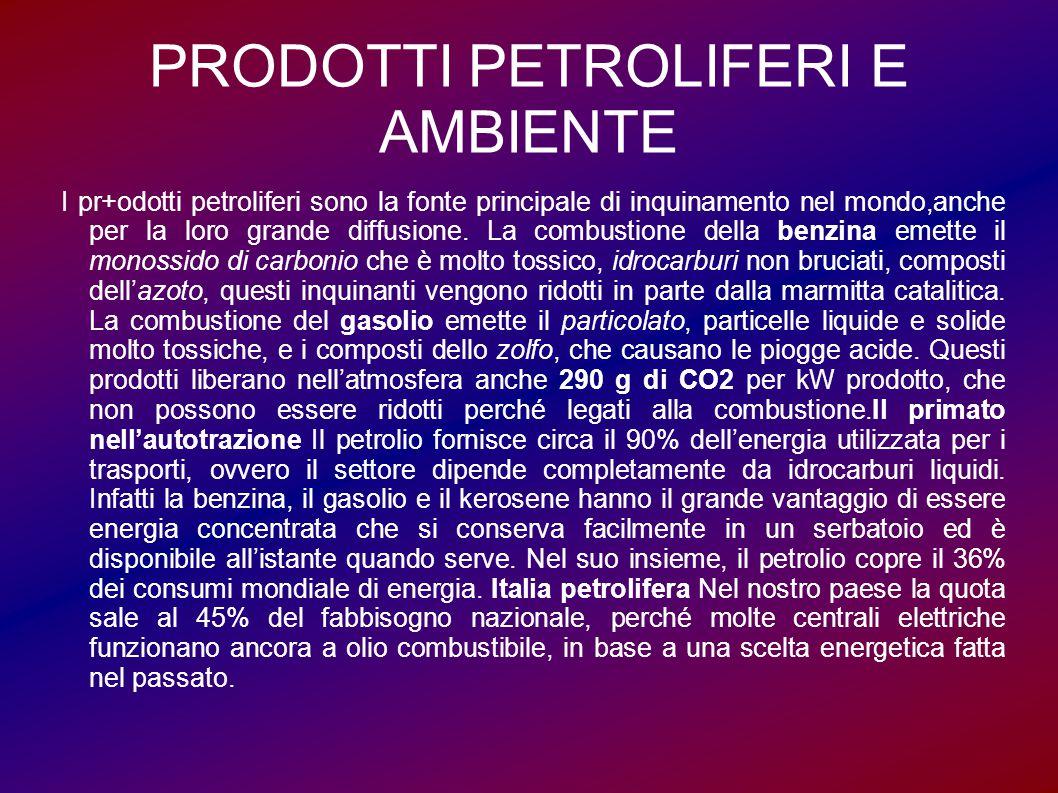 PRODOTTI PETROLIFERI E AMBIENTE I pr+odotti petroliferi sono la fonte principale di inquinamento nel mondo,anche per la loro grande diffusione. La com
