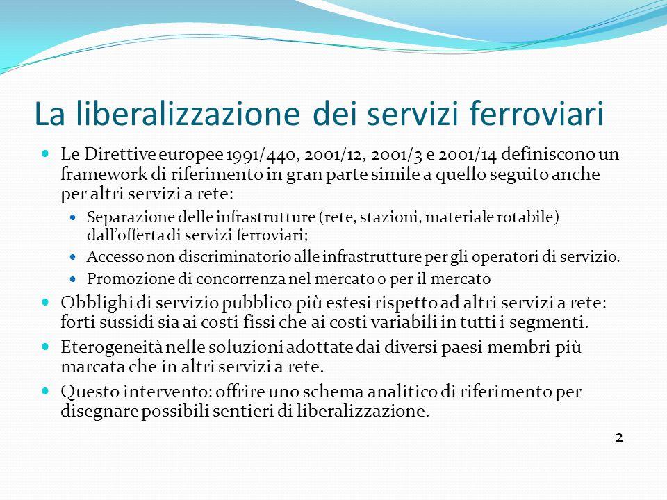 La liberalizzazione dei servizi ferroviari Le Direttive europee 1991/440, 2001/12, 2001/3 e 2001/14 definiscono un framework di riferimento in gran parte simile a quello seguito anche per altri servizi a rete: Separazione delle infrastrutture (rete, stazioni, materiale rotabile) dall'offerta di servizi ferroviari; Accesso non discriminatorio alle infrastrutture per gli operatori di servizio.