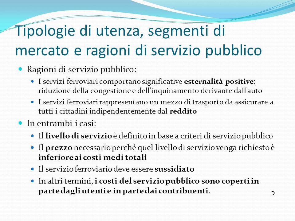 Tipologie di utenza, segmenti di mercato e ragioni di servizio pubblico Ragioni di servizio pubblico: I servizi ferroviari comportano significative es