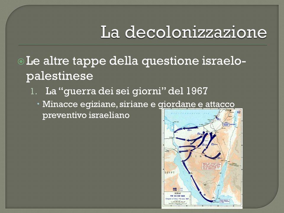 """ Le altre tappe della questione israelo- palestinese 1. La """"guerra dei sei giorni"""" del 1967  Minacce egiziane, siriane e giordane e attacco preventi"""