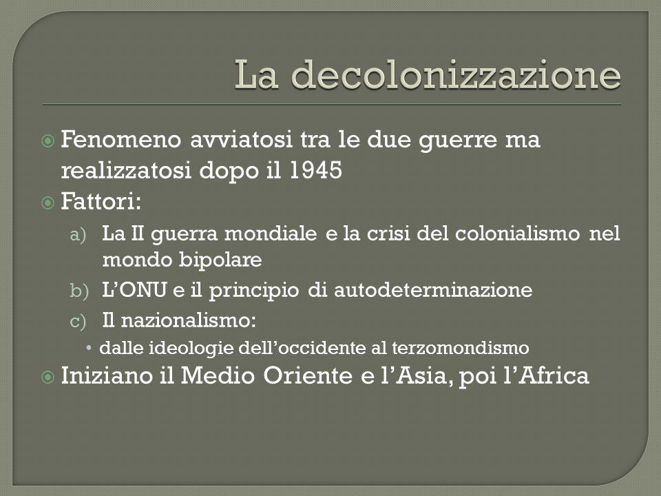  Fenomeno avviatosi tra le due guerre ma realizzatosi dopo il 1945  Fattori: a) La II guerra mondiale e la crisi del colonialismo nel mondo bipolare