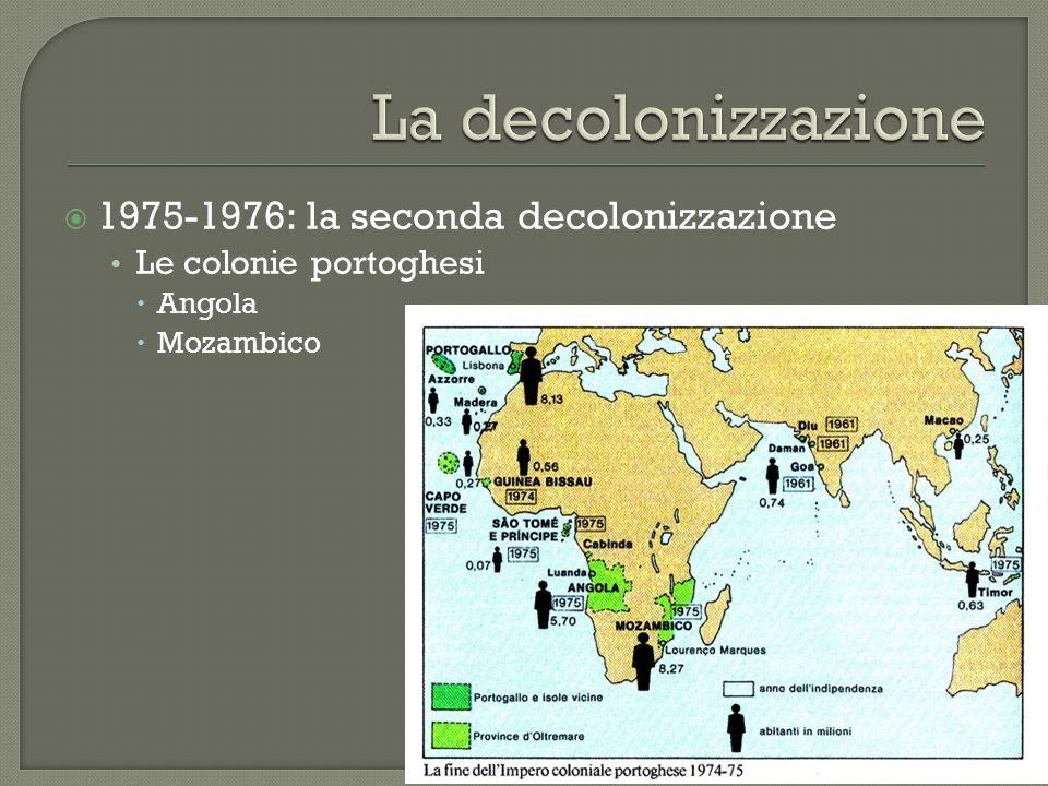  1975-1976: la seconda decolonizzazione Le colonie portoghesi  Angola  Mozambico