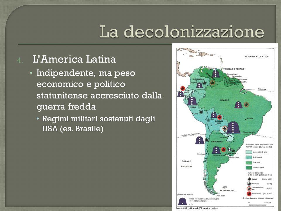 4. L'America Latina Indipendente, ma peso economico e politico statunitense accresciuto dalla guerra fredda Regimi militari sostenuti dagli USA (es. B