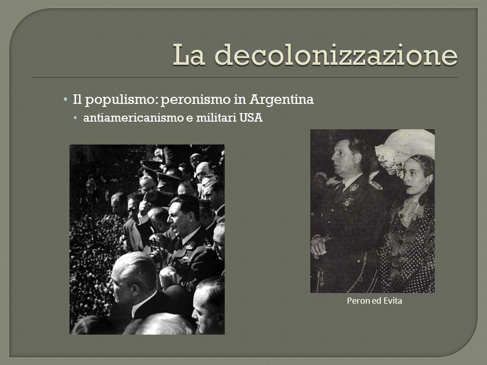 Il populismo: peronismo in Argentina antiamericanismo e militari USA Peron ed Evita