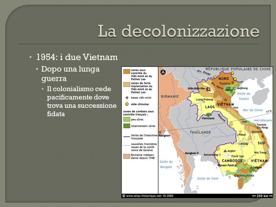 1954: i due Vietnam Dopo una lunga guerra Il colonialismo cede pacificamente dove trova una successione fidata