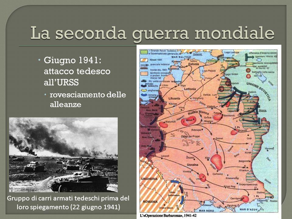  Giugno 1941: attacco tedesco all'URSS  rovesciamento delle alleanze Gruppo di carri armati tedeschi prima del loro spiegamento (22 giugno 1941)