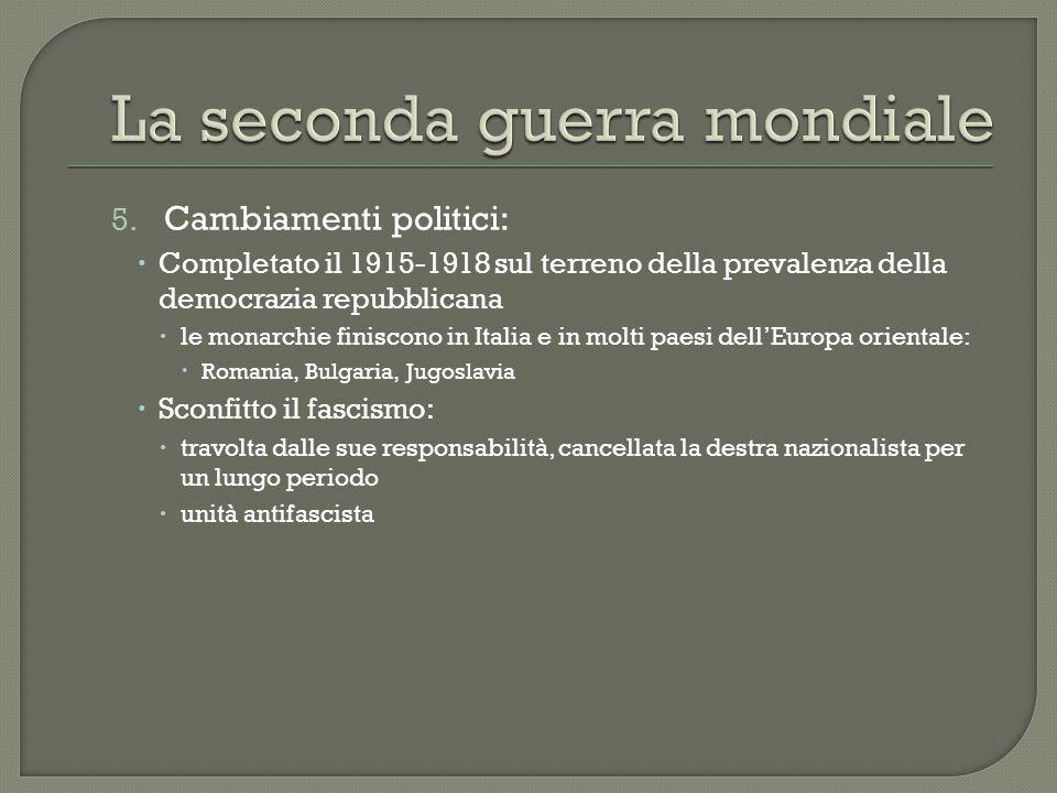 5. Cambiamenti politici:  Completato il 1915-1918 sul terreno della prevalenza della democrazia repubblicana  le monarchie finiscono in Italia e in