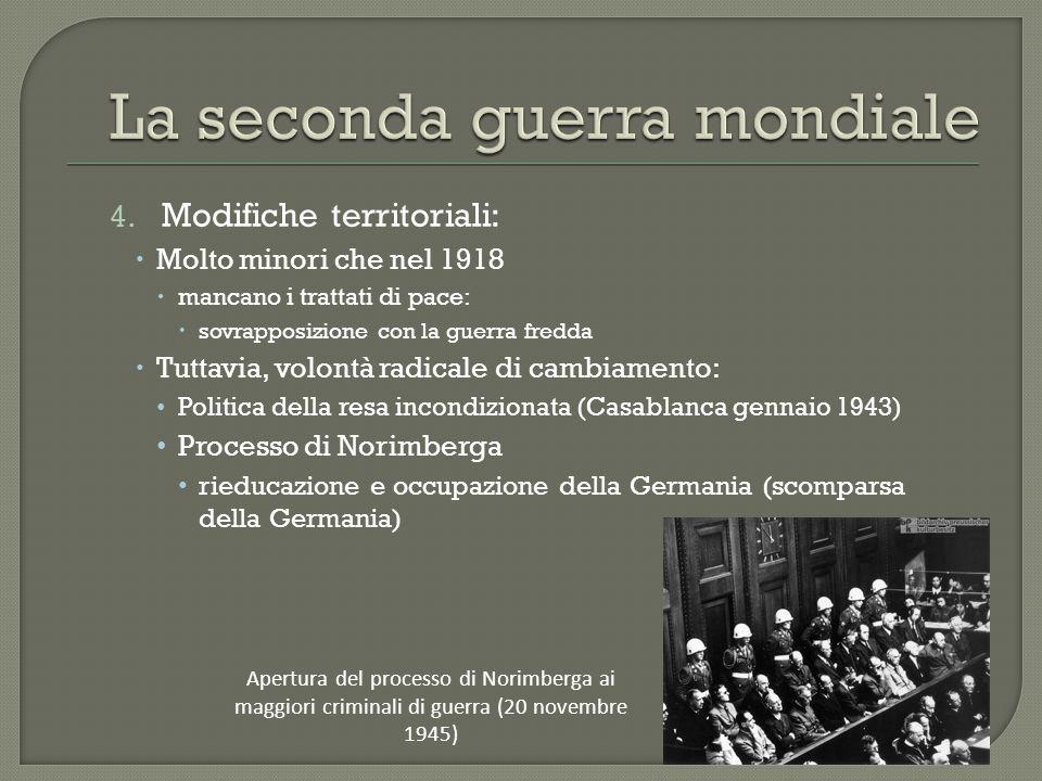4. Modifiche territoriali:  Molto minori che nel 1918  mancano i trattati di pace:  sovrapposizione con la guerra fredda  Tuttavia, volontà radica