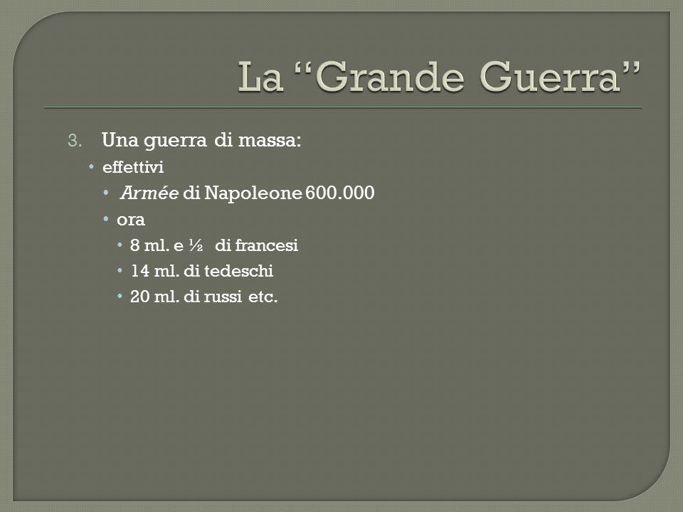 3. Una guerra di massa: effettivi Armée di Napoleone 600.000 ora 8 ml. e ½ di francesi 14 ml. di tedeschi 20 ml. di russi etc.