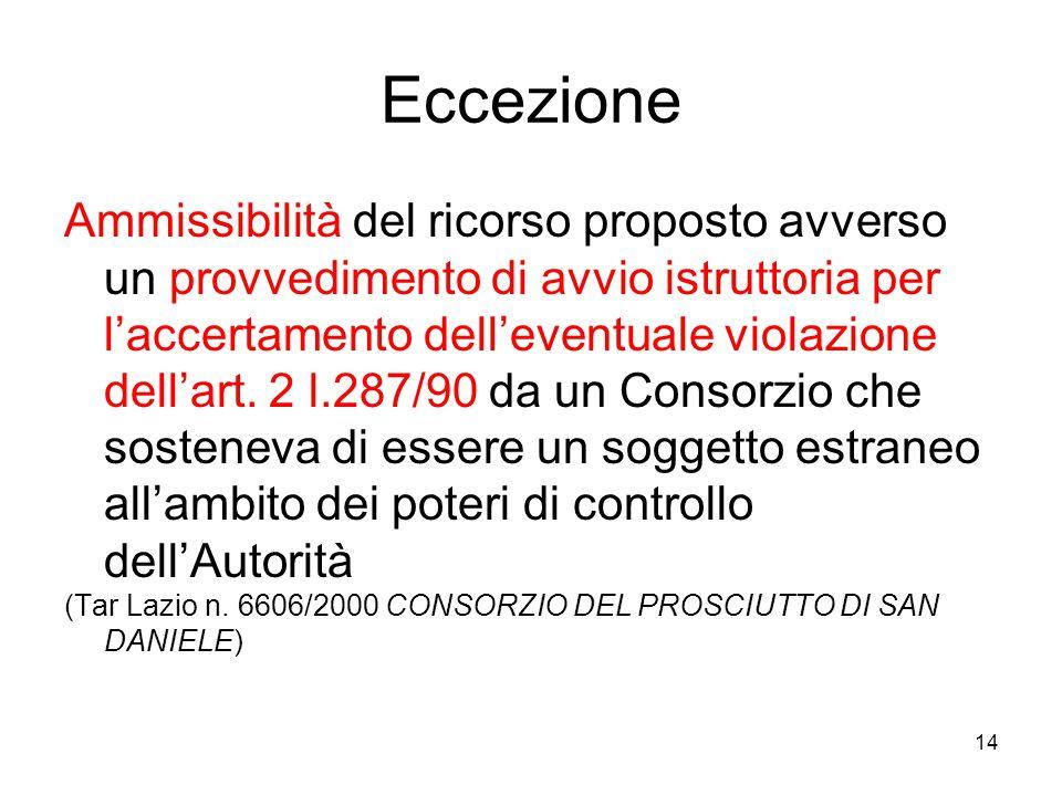 14 Eccezione Ammissibilità del ricorso proposto avverso un provvedimento di avvio istruttoria per l'accertamento dell'eventuale violazione dell'art. 2