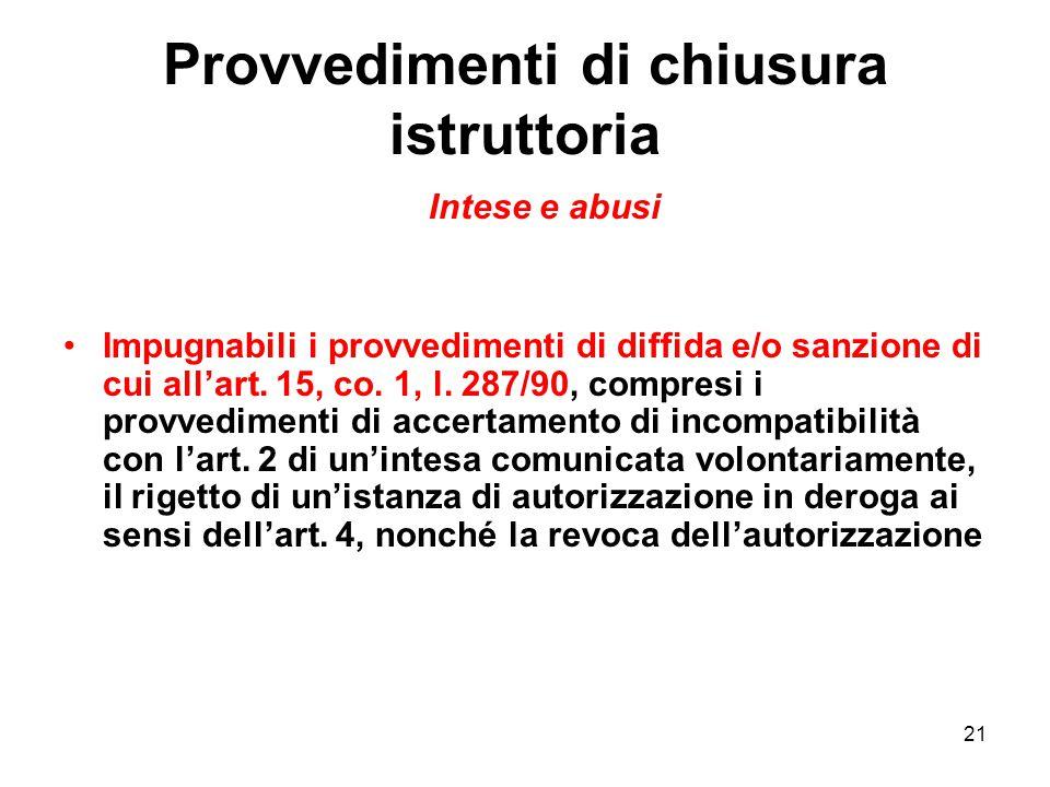 21 Provvedimenti di chiusura istruttoria Intese e abusi Impugnabili i provvedimenti di diffida e/o sanzione di cui all'art. 15, co. 1, l. 287/90, comp
