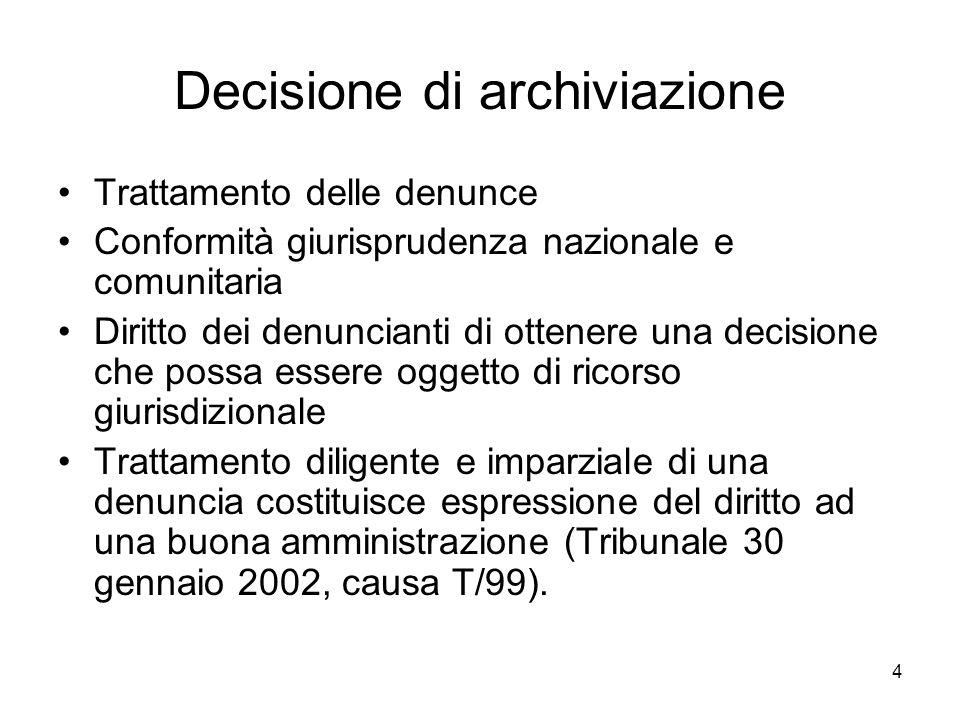 4 Decisione di archiviazione Trattamento delle denunce Conformità giurisprudenza nazionale e comunitaria Diritto dei denuncianti di ottenere una decis