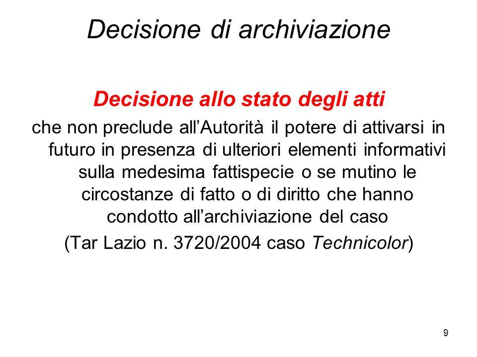 9 Decisione di archiviazione Decisione allo stato degli atti che non preclude all'Autorità il potere di attivarsi in futuro in presenza di ulteriori e