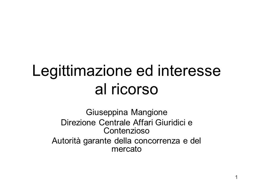 1 Legittimazione ed interesse al ricorso Giuseppina Mangione Direzione Centrale Affari Giuridici e Contenzioso Autorità garante della concorrenza e de