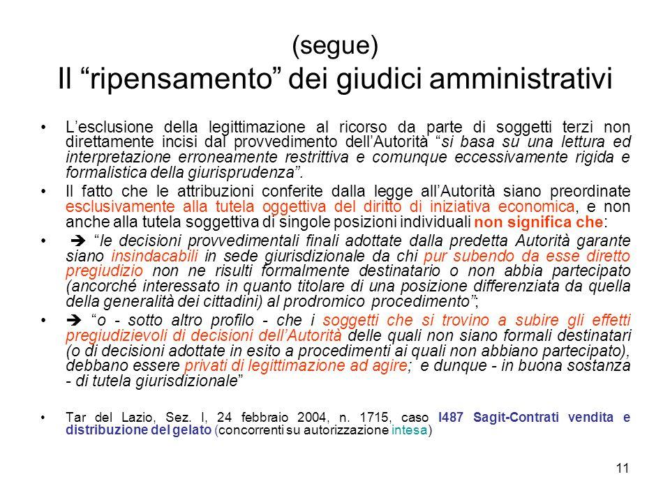 """11 (segue) Il """"ripensamento"""" dei giudici amministrativi L'esclusione della legittimazione al ricorso da parte di soggetti terzi non direttamente incis"""