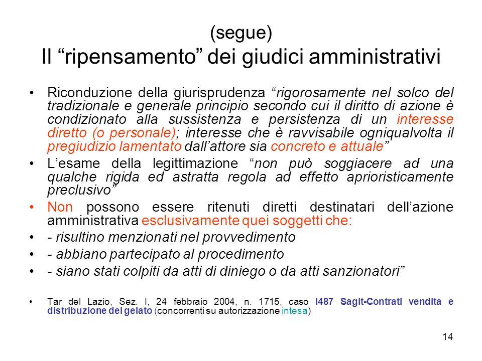 """14 (segue) Il """"ripensamento"""" dei giudici amministrativi Riconduzione della giurisprudenza """"rigorosamente nel solco del tradizionale e generale princip"""