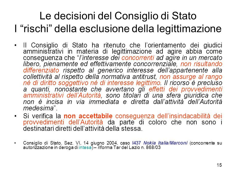 """15 Le decisioni del Consiglio di Stato I """"rischi"""" della esclusione della legittimazione Il Consiglio di Stato ha ritenuto che l'orientamento dei giudi"""