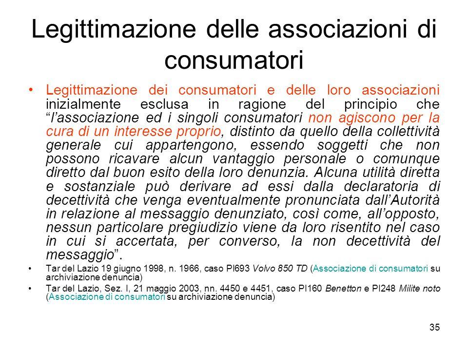 35 Legittimazione delle associazioni di consumatori Legittimazione dei consumatori e delle loro associazioni inizialmente esclusa in ragione del princ