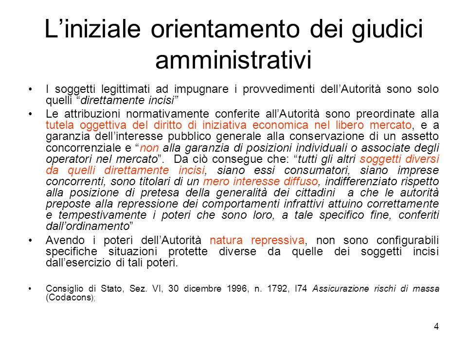 """4 L'iniziale orientamento dei giudici amministrativi I soggetti legittimati ad impugnare i provvedimenti dell'Autorità sono solo quelli """"direttamente"""