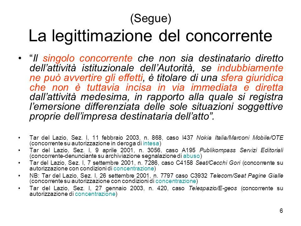 """6 (Segue) La legittimazione del concorrente """"Il singolo concorrente che non sia destinatario diretto dell'attività istituzionale dell'Autorità, se ind"""