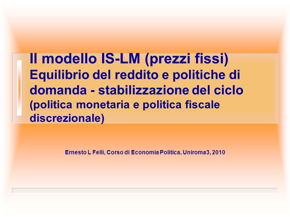 Il modello IS-LM (prezzi fissi) Equilibrio del reddito e politiche di domanda - stabilizzazione del ciclo (politica monetaria e politica fiscale discr