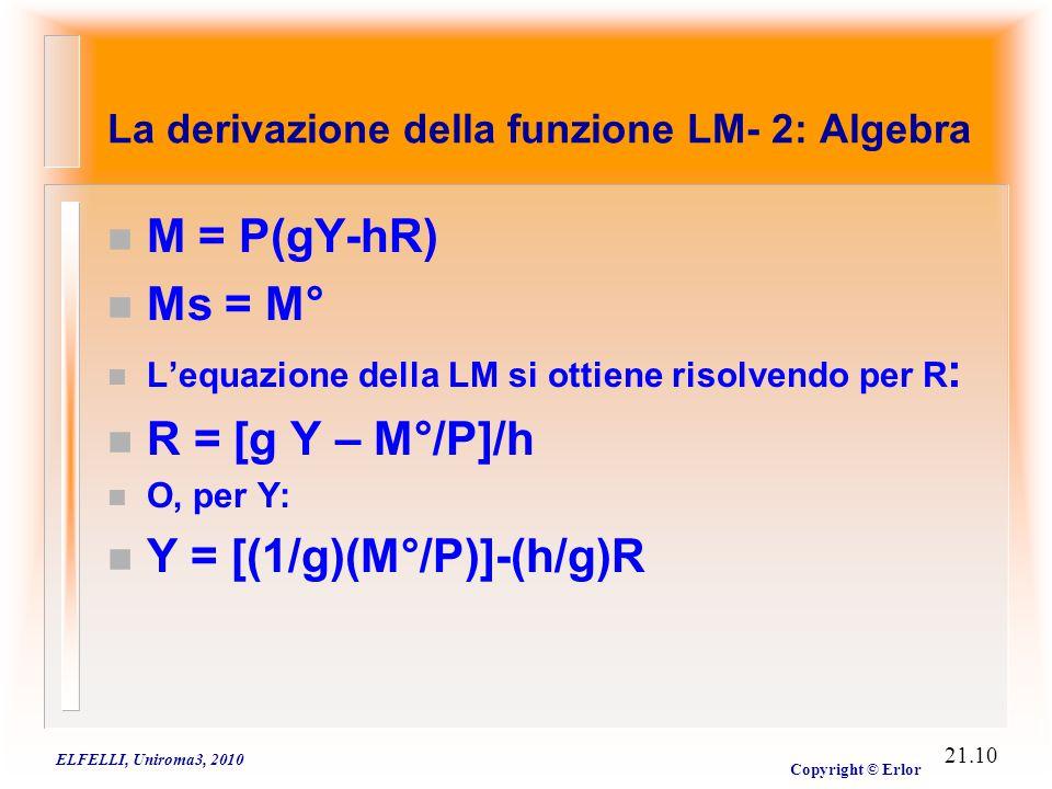 ELFELLI, Uniroma3, 2010 Copyright © Erlor 21.10 n M = P(gY-hR) n Ms = M° n L'equazione della LM si ottiene risolvendo per R : n R = [g Y – M°/P]/h n O